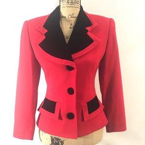 SCAASI Vintage Red Black Velvet and Wool Blazer 4